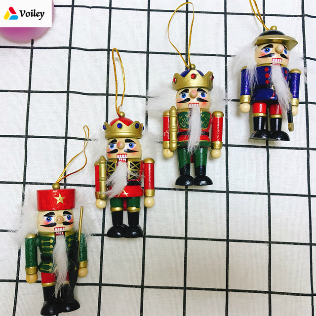4 pcsset 10cm wooden nutcracker christmas tree hanging ornaments desktop decoration walnuts soldiers band