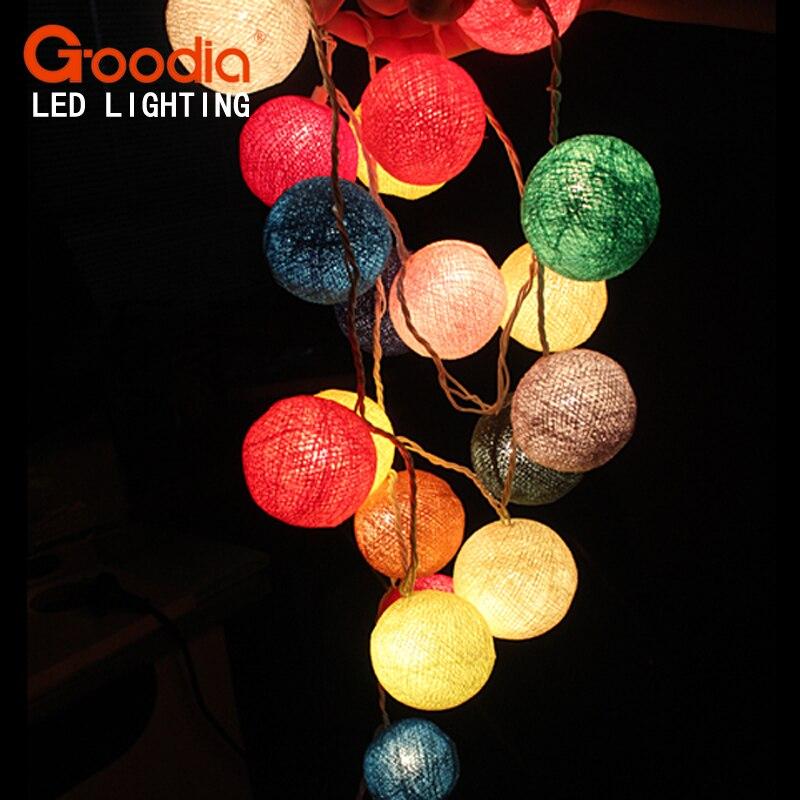 פיות גרלנד כותנה כדור מחרוזת אורות, - תאורת חג