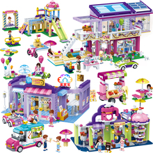 City Girls Icecream Car Park Party House Coffee Shop Fountain Square Legoes Block Set Building Brick Toy Friends