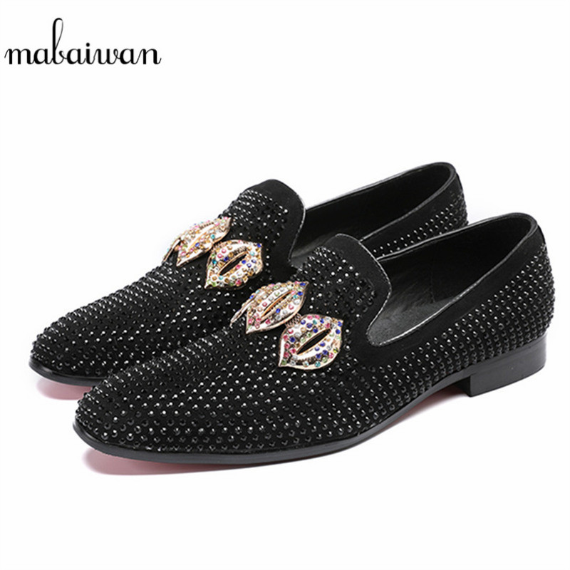 Mabaiwan Fashion Casual Men Shoes Slip On Black Suede Loafers Crystal Slipper Wedding Dress Shoes Men Pointed Toe Party Flats npezkgc men shoes fashion leather doug casual flat tassels slip on driver dress loafers pointed toe moccasin wedding shoes