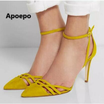 Yellow Closed Pointed Toe Women Sandal Shoes Thin High Heel Shoes Wrap Heel Cross Strap Summer Sandal 2017 yellow orange open toe women sandals thin high heel shoes open heel criss cross strap summer sandal 2015 sapatos femininos