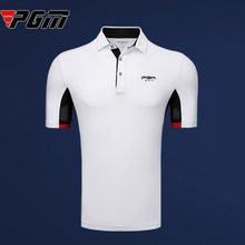 PGM Brand LOGO 2019 Latest Golf Shirt Men Mesh Breathable Loose Jersey Turn down collar POLO Short T-shirt white navy M xxl(China)