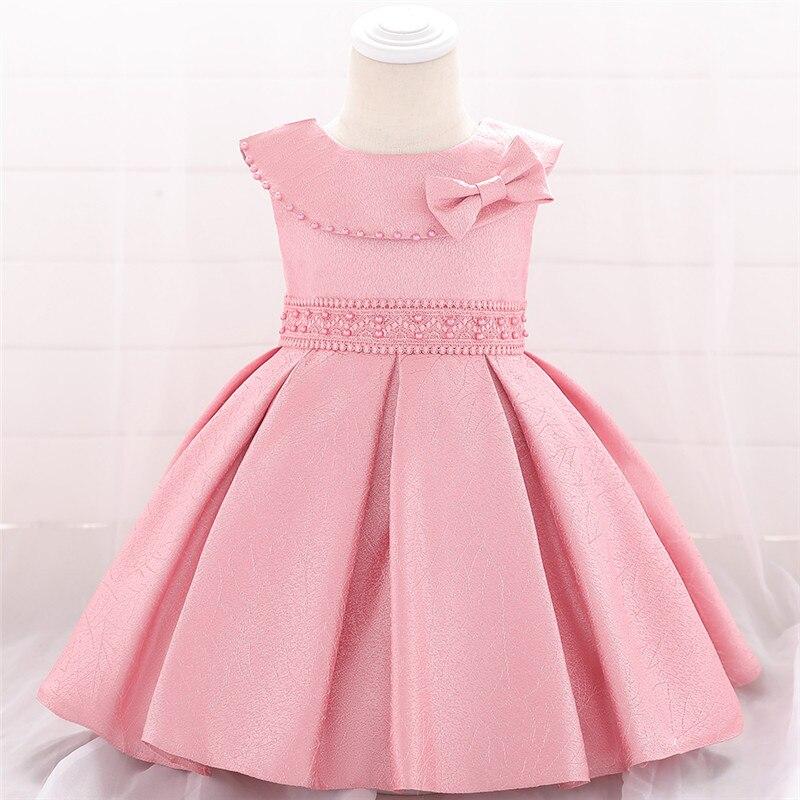 NewBorn Beaded Pleated Tutu Baby Girls Dresses Lovely Party Birthday Princess Dress Girls Baptism Evening Summer Dress L1905XZ
