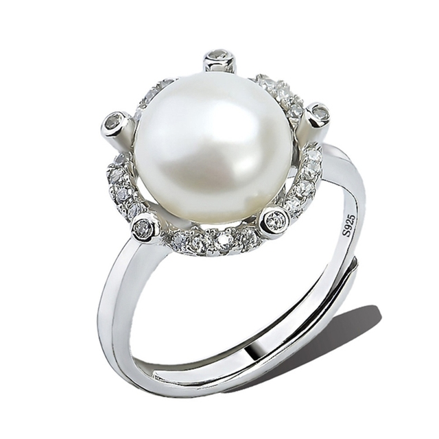4 color 925 sterling silver jewelry rings nature freshwater pearl adjustable for women girls party wedding CHJ0625