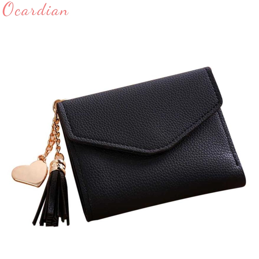 Women Wallet Top Quality Card ID Holders New Fashion Hot Leather Simple Short Tassel Coin Purse Gift Billetera Carteira 17July4 пончо ted baker london ted baker london te019ewkjw70