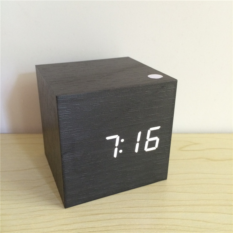 Mini cube sound control alarm clock cute desktop calendar wooden bedroom LED display digital clocks xyzTime-6029cube-Black-Clock