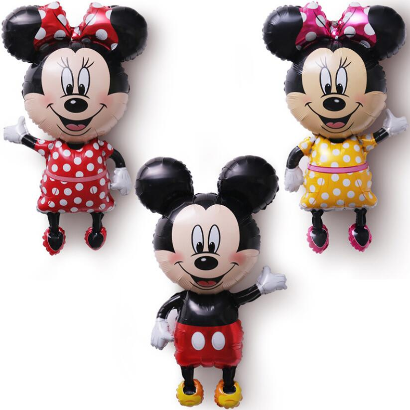 112cm Mickey Minnie Mouse foil Balloon Cartoon Birthday Party decorations Kids Baby shower Party balloon Toys