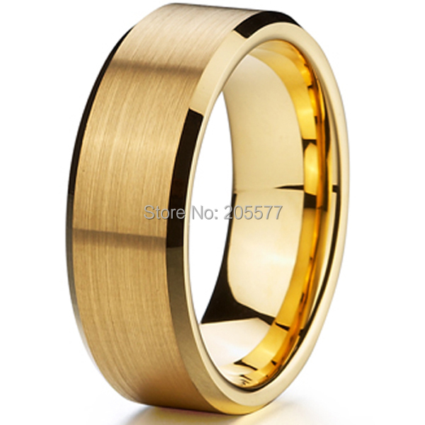 buy classic 8mm men ring titanium wedding band gold ion plating fashion bridal. Black Bedroom Furniture Sets. Home Design Ideas