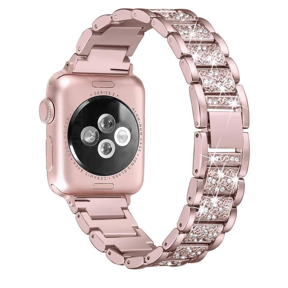 For Apple Watch Band 38mm 40mm 42mm 44mm Women Diamond Band For Apple Watch Series 5 4 3 2 IWatch Bracelet Stainless Steel Strap