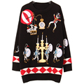 Women's European Style Heavy Embroidery Cartoon Soldier Balloon Pattern Long-sleeved Sweater Geometric Icon Luxury Tops SY620