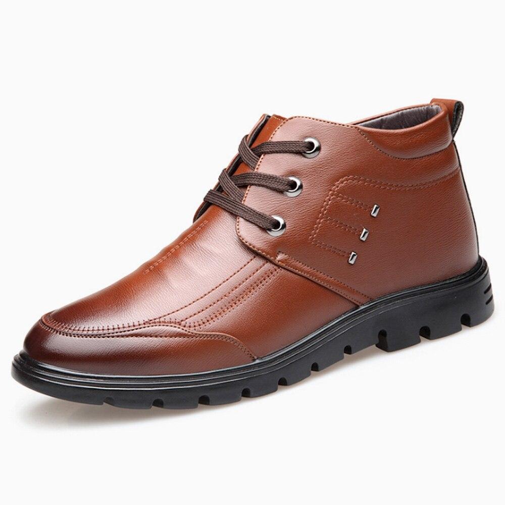 611e17b4155 US $54.8 |BUVAZIK Winter Shoes Men Round Toe Mens Platform Boots Short  Plush Winter Boots Mens Winter Footwear Black Rubber Sole Work Shoe-in Work  & ...