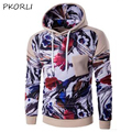 2016 Winter Men Hoodies Hip Hop Male Brand Hoodie Color Stitching Sweatshirt Suit Digital Printing Pocket Sweatshirt Slim Fit