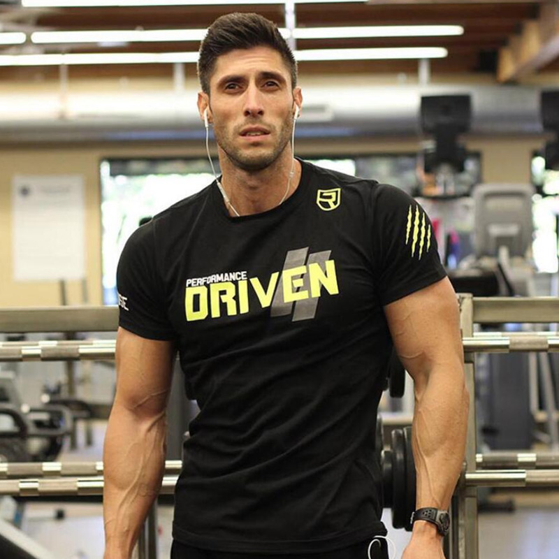 Men Short sleeve Cotton   T  -  shirt   Man Slim Printed   t     shirt   Male Gyms Fitness Bodybuilding Workout Crossfit Brand Tees Tops Apparel
