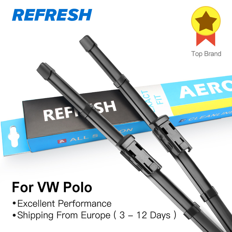 REFRESH Wiper Blades for Volkswagen VW Polo Hatchback MK4 MK5 Fit Side Pin / Push Button Arms Model Year from 2002 to 2017