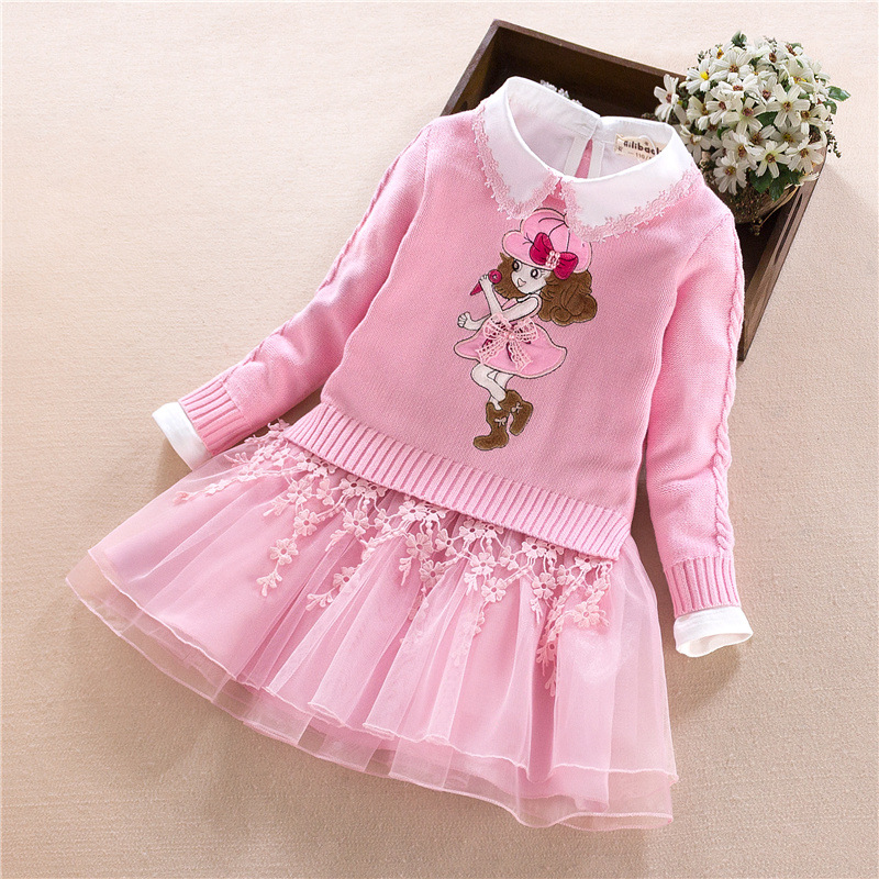 Girls Set 2018 Fall New Girls Cotton Sweater Kids Long Sleeve Sweater + Dress Two-piece Skirt underwire two piece flounce corset dress