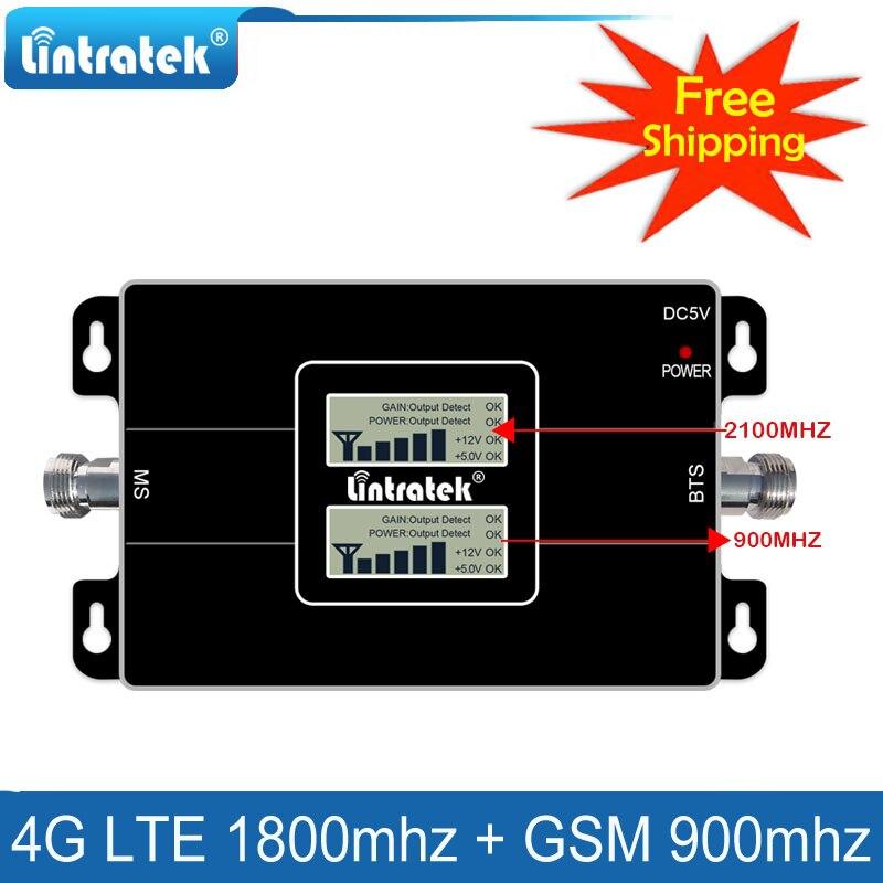 Lintratek livraison gratuite 4G Lte 1800 répéteur de signal cellulaire GSM 900 amplificateur de téléphone portable 2G 4G 65dB amplificateur de Signal double bande