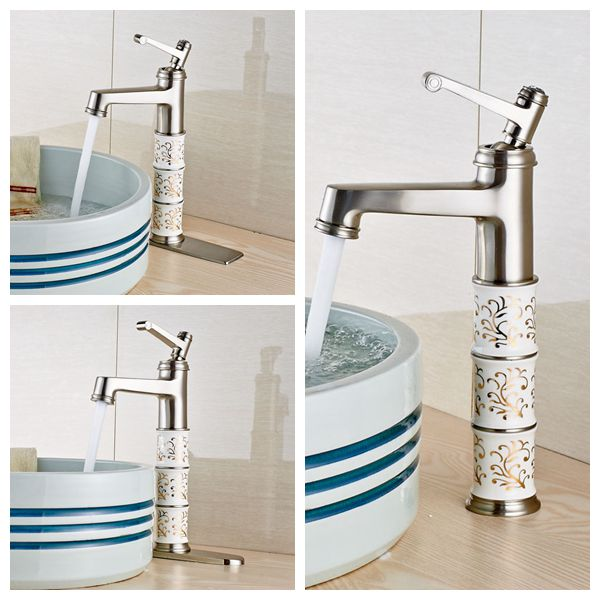 ФОТО Wholesale And Reatil Brushed Nickel Basin Faucet Swivel Spout Single Lever Mixer Faucet W/8