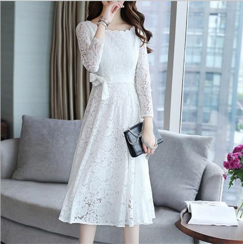 b0248f15fd7 ... Women s Retro Crochet Floral Lace Long Sleeve Vintage Bridesmaid Party  Dress Female White Black Midi Flare ...