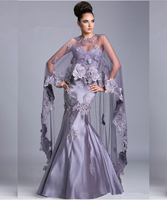 Vintage Style Mother Of the Bride Dresses with Wrap Floor Length Mermaid Evening Gowns