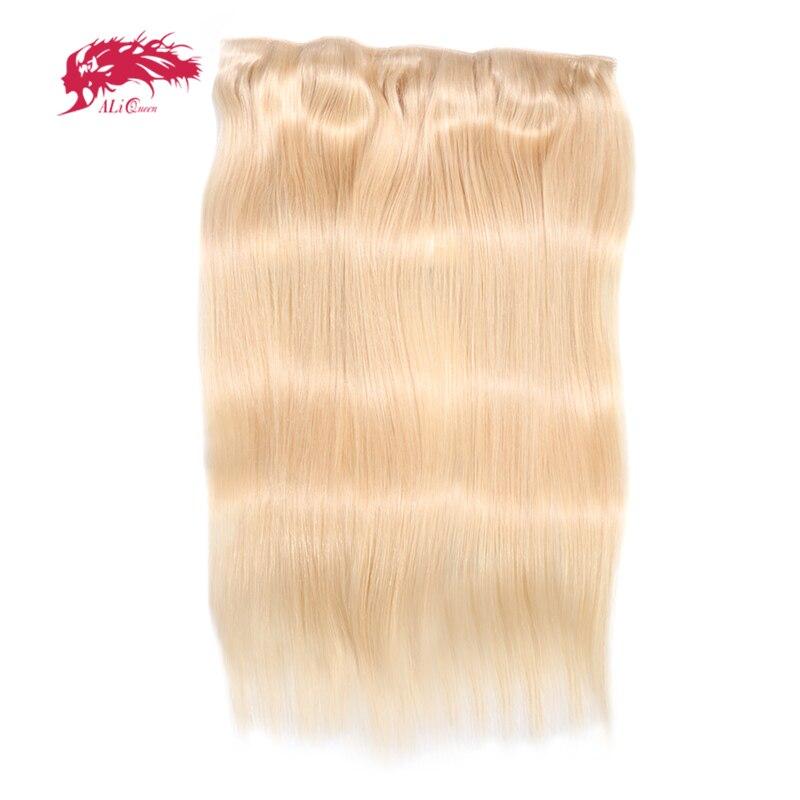 Ali Queen Hair Straight Full Head Clip In Human Hair Extensions 27 1b 4 613 Remy