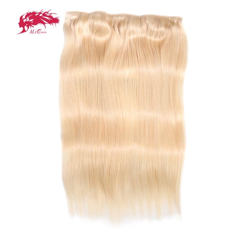 Ali Queen Hair Straight Full Head Clip In Human Hair Extensions #27/#1b/#4/#613 Remy Hair 5 Clips in 1 piece Human Hair