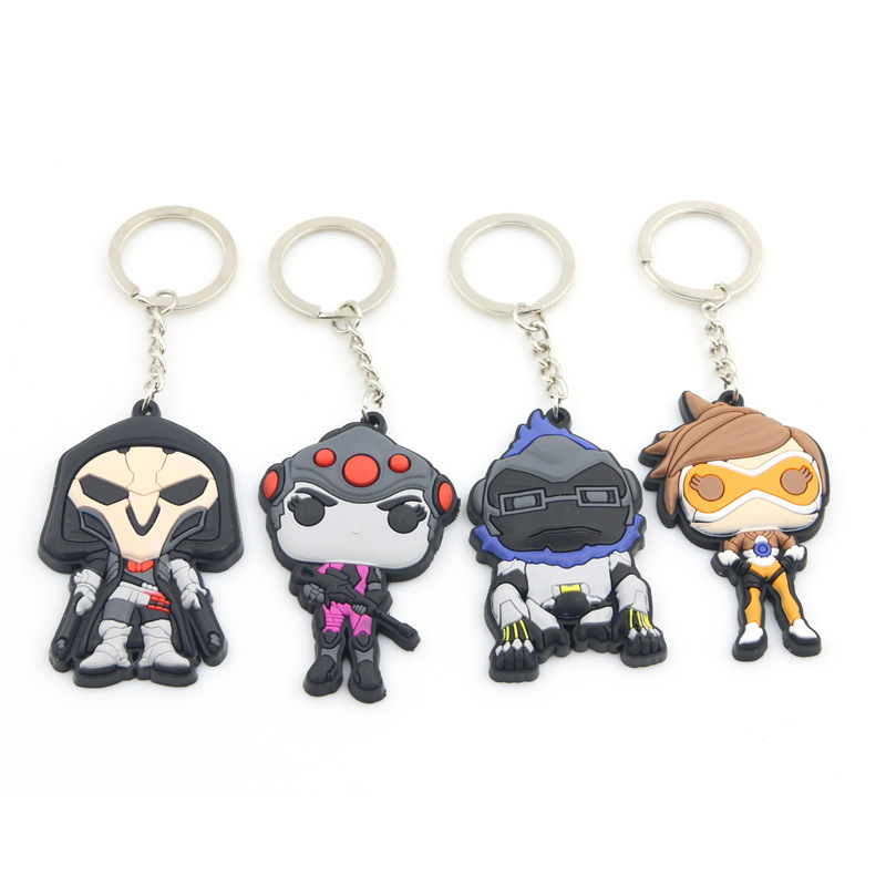 Hot sell Game Overwatch Keychain Tracer Reaper OW key chains Blizzard Reaper Winstion Key Ring Hot FPS game PVC Cosplay keychain