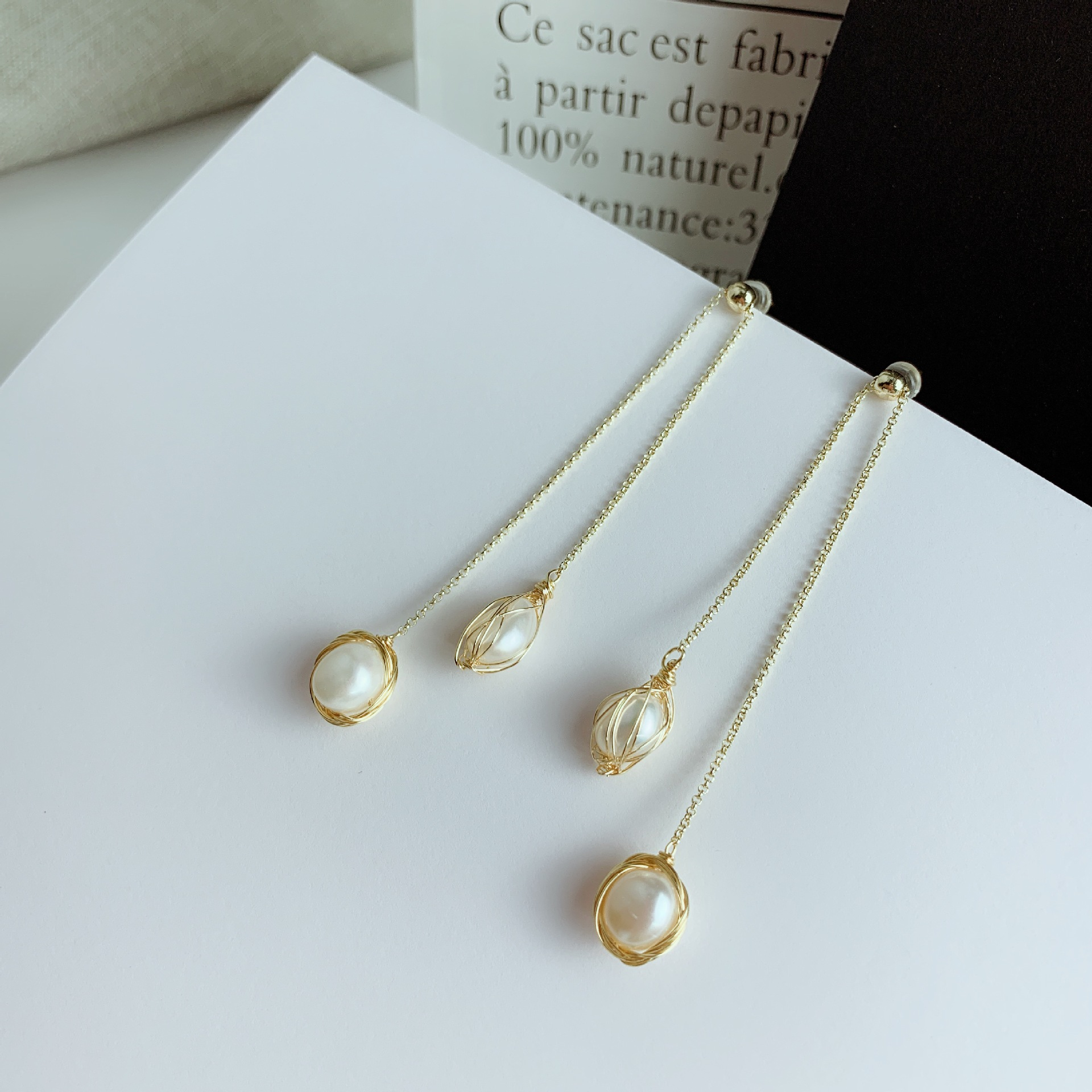 2019 Fashion Elegant Korean Long Women 39 s Natural Pearl Hanging Earrings Girl Birthday Gift Perle Baroque Earrings Aretes EC01682 in Drop Earrings from Jewelry amp Accessories