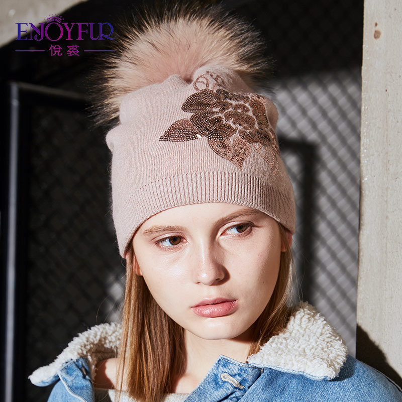 2d0db9974d0 ENJOYFUR Floral Sequins Embroidery Winter Hats Women Raccoon Fur Pom Pom Hat  Female Girl Wool Knitted Beanies Gravity Falls Cap-in Skullies   Beanies  from ...