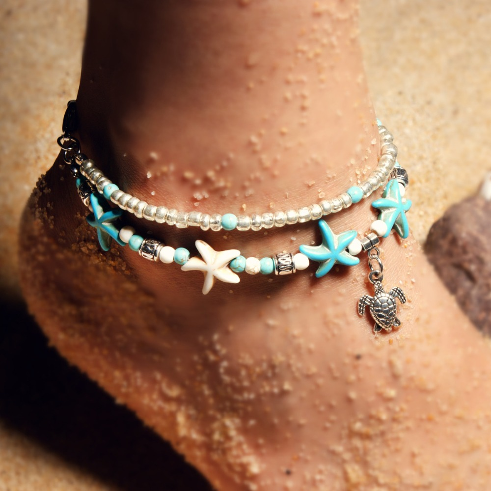 Vintage tobillera Shell Bead Starfish Sea Turtle Anklets For Women New Multi Layer Anklet Leg Bracelet Handmade Bohemian Jewelry