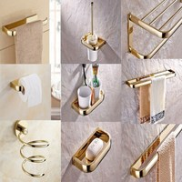 Bathroom Accessories Gold Color Brass Collection, Towel Ring, Paper Holder, Toilet Brush, Bath Rack, Soap Dish aset001