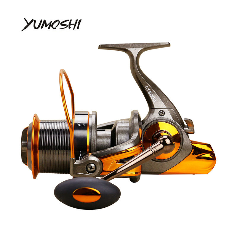 YUMOSHI Fishing Reel AT8000/9000 13+1BB Ball Bearings CNC rocker arm Sea Spinning PC+ABS Left /Right hand Interchangeable 2017 sea fishing reel 12bb 1rb surfcasting fishing reel long distant wheel for saltwater 8000 9000 series drag 24kg 52lb fishing reel