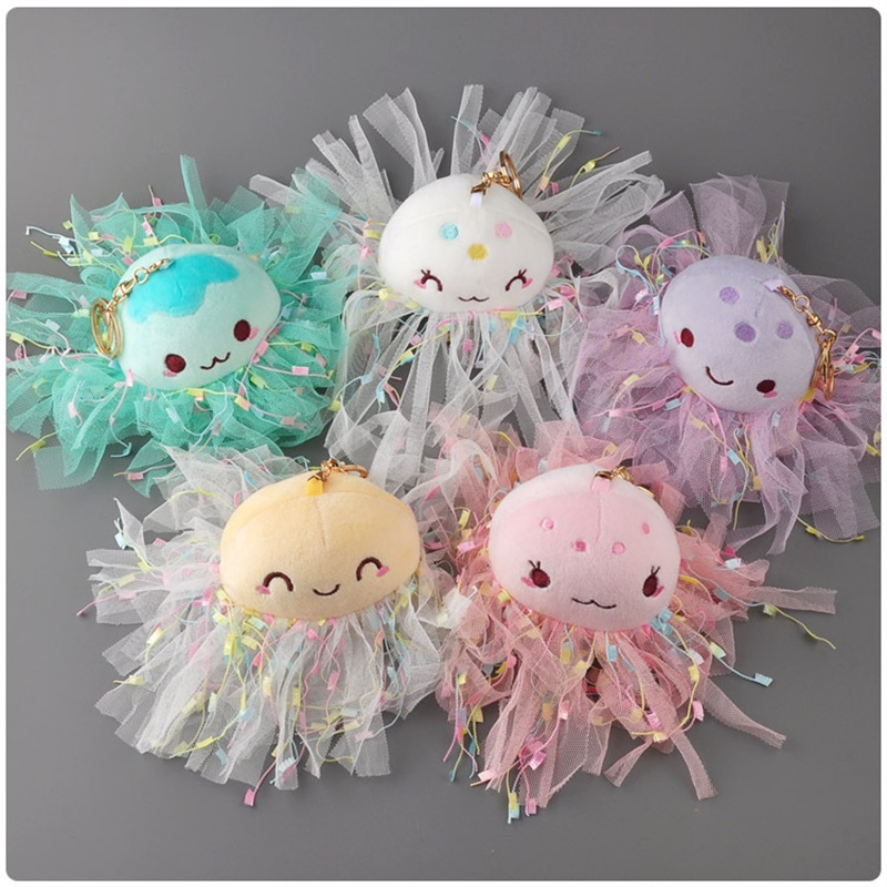 Cartoon Cute Jellyfish Plush Toys Small Pendant Key Chains Car Ornament Stuffed Animals Home Decoration Valentine's Day Gifts