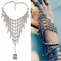 Gypsy Vintage Bracelets & Bangles Women Boho Tibetan Silver Plated Flower link chain Bracelet 2016 Ethnic turkish Jewelry