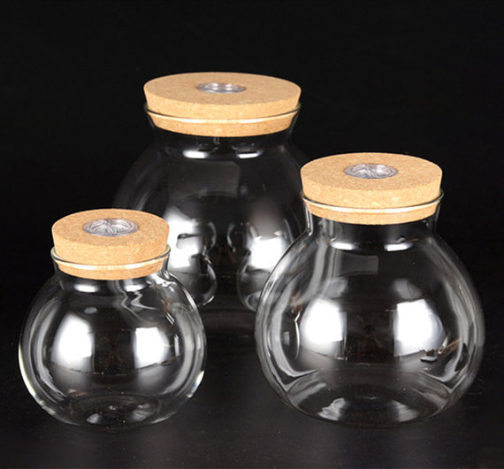 Blown Glass Jar,Round Orb Terrarium,6 Inches Round Glass Bowl With LED Light Part 64