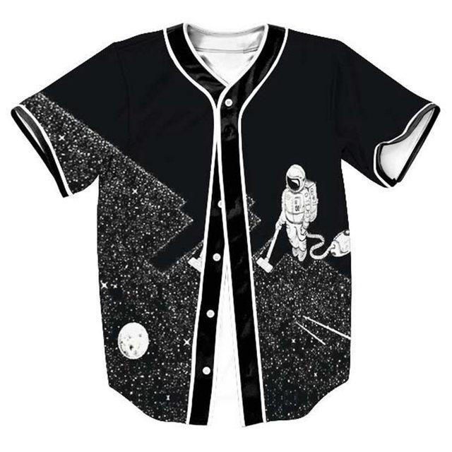 45999dbcf 2017 New Fashion 3D Graphic Baseball Jersey Men T-Shirt Full Button Hip Hop  Tee