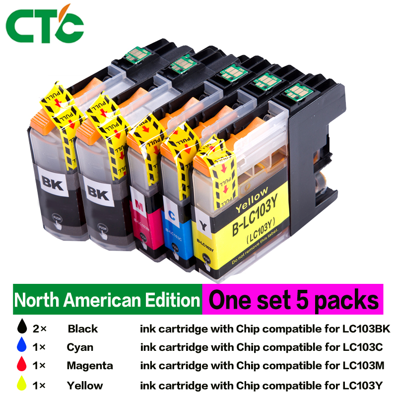5X LC103 ink Cartridge Compatible for brother J4310DW J4410DW J4510DW J4610DW J4710DW J6520DW J6720DW J6920DW J450DW J470DW