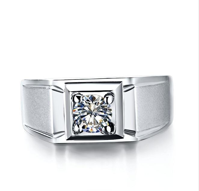 Moissanite Tested Real Popular Men Ring Wholesale White Gold 18K