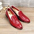 2017 Патент мужская кожаная бизнес повседневная обувь новые Люди Оксфорды кружева до Мужской Свадебные Туфли Одеть Обувь США размер 9 черный синий обувь