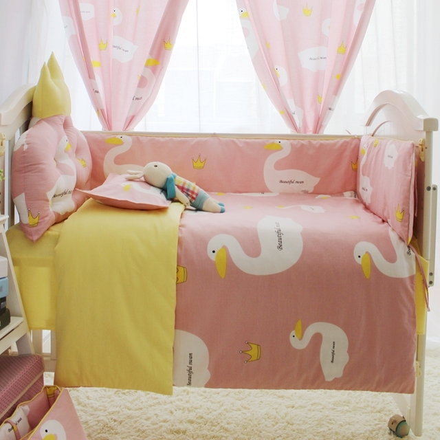 4-10PCS/Set Cute Cartoon Baby Bedding Set for Newborn 100% Cotton Crib Bumper Baby Cot Sets Baby Bed Bumper Free Shipping