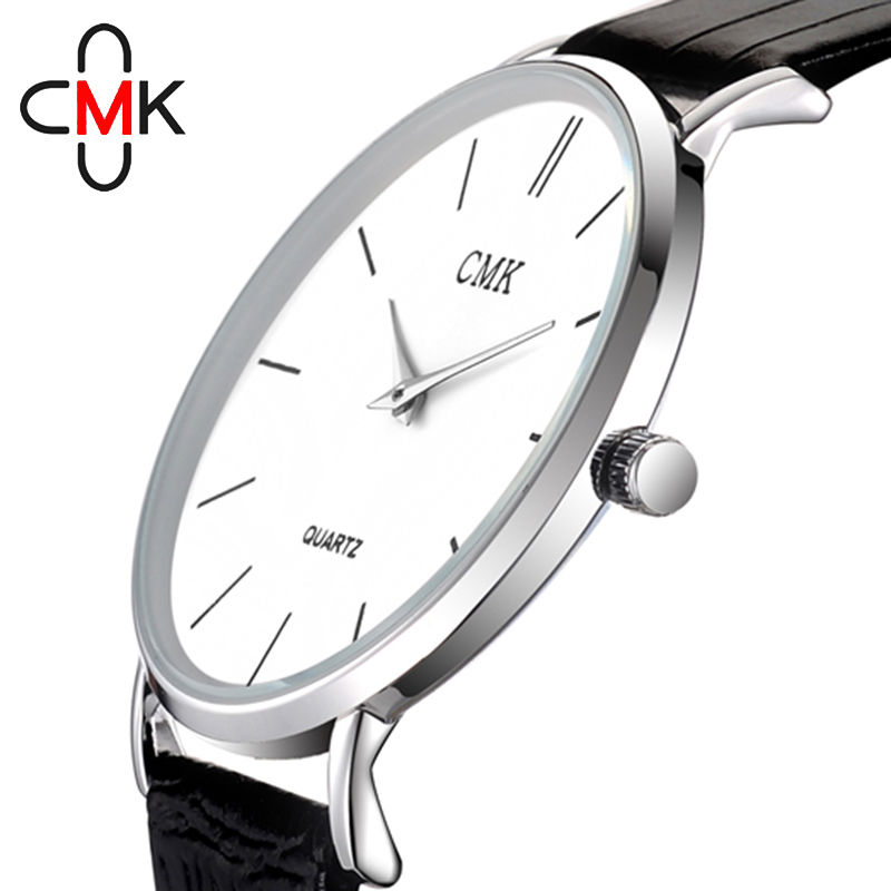 CMK Ultra Slim Enkel Dial Män Klockor Mode Casual Leather Strap Male Watch Vattentät Quartz Armbandsur Relogio Masculino