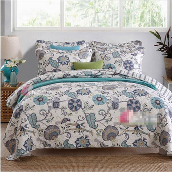 Free shipping European pastoral style bohemian floral 3pcs patchwork quilt full/queen size air condition bed cover/bedspread