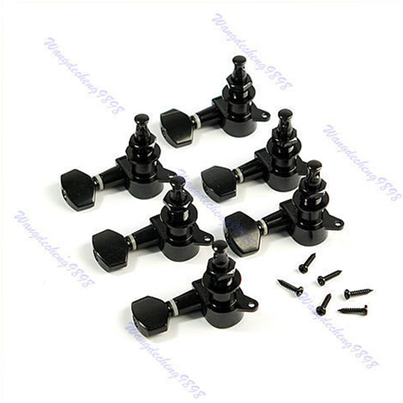 New 6pcs/set Black Inline Guitar String Tuning Peg Machine Head Tunner Drop Shipping new 6 pcs guitar string mounting buckle ferrules bushing set silver hot sale are4