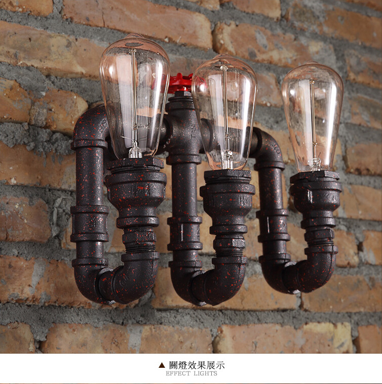 Retro Loft Water pipe Wall Lamp Rust Color Iron 3 Heads Water Pipes Wall Light Vintage E27 Indoor Lighting AC 110V-250V Lamparas
