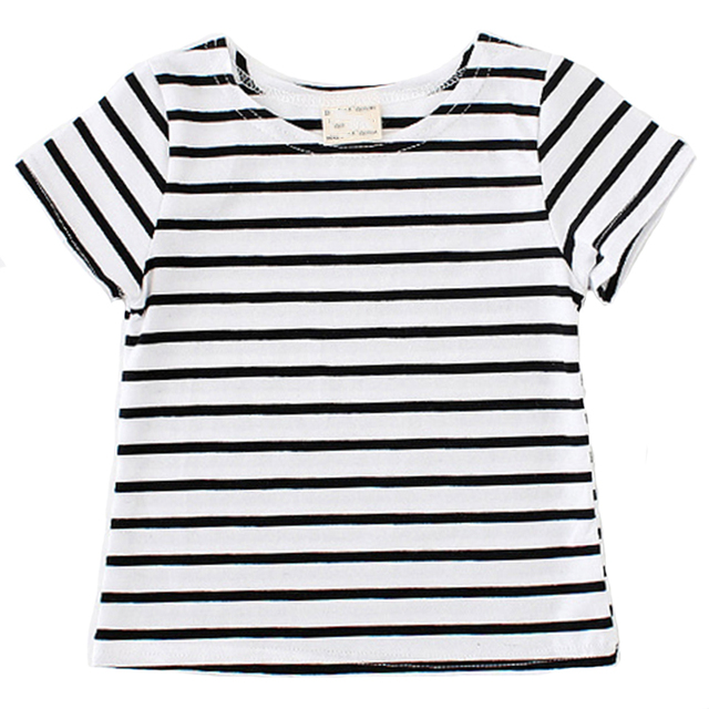 Hot Sale 2017 Summer Baby Unisex Clothes Fashion Classic Funny T Shirt White Black Striped T-shirt Kids Children Top Tee Infants