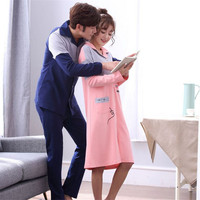 New purified cotton Couple Pajamas sets Turn down Collar Long sleeved trousers Sleepwear Man/Woman home clothes Fashion bedgown