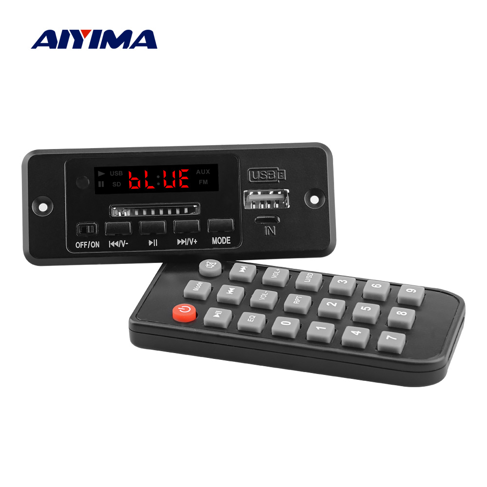 AIYIMA Bluetooth 5.0 Receiver Music MP3 Decoder Board AUX USB SD Card FM Decoding With <font><b>2x3W</b></font> Power <font><b>Amplifiers</b></font> Digital LED Display image