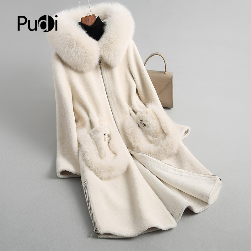 PUDI A18108-5 women's winter warm genuine wool fur with fox collar coat lady coat jacket overcoat
