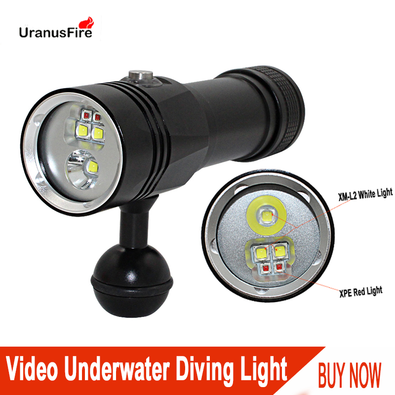 Uranusfire Video Diving Fill Light Underwater Lamp XM-L2 XPE Led 3 Modes White Red Photography Tactical Dive Torch Flashlight