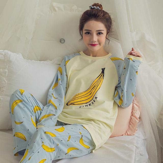 Descuento 2017 de la NUEVA Historieta Pijamas pijama femmel Otoño Primavera pijamas mujeres pijama conjunto pijamas Casa Ropa de Algodón para las mujeres