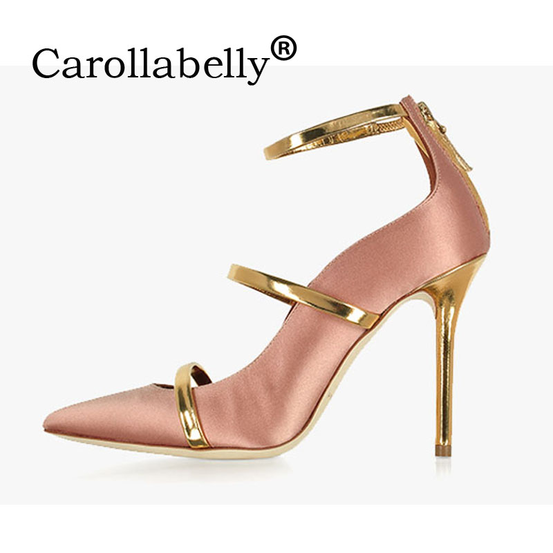 Carollabelly Women Brand Shoes Straps Sexy Pointed Toe High Heel Wedding Dress Shoes 8CM/10CM  Woman Stiletto Gladiator Pumps wholesale lttl new spring summer high heels shoes stiletto heel flock pointed toe sandals fashion ankle straps women party shoes